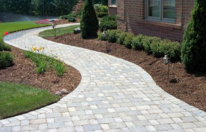 landscaped walkway pool landscaping